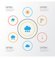 Climate flat icons set collection of banner vector image
