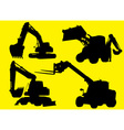 Construction vehicles silhouettes vector image vector image