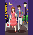 couple going out on a valentines day vector image vector image