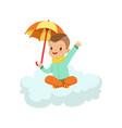 cute little boy sitting on cloud under umbrella vector image vector image
