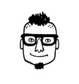 doodle sketch boy with glasses vector image
