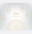 eid mubarak banner with line style vector image
