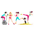 fitness set with different women vector image