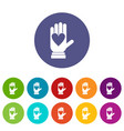 hand with heart set icons vector image vector image