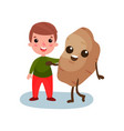happy little boy hugging giant potato vegetable vector image