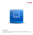 laptop icon flat design - 3d blue button vector image