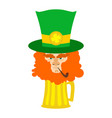 leprechaun with red beard and beer st patricks vector image vector image