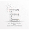 letter e form low poly wire frame on white vector image vector image