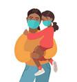 mother and daughter wear medical masks virus vector image