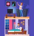 neighbor during karaoke cartoon composition vector image vector image