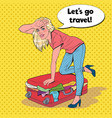 pop art woman trying to close overflowed suitcase vector image vector image