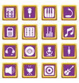 recording studio symbols icons set purple square vector image