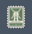 rectangular postmark with windmill main symbol of vector image vector image