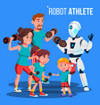 robot athlete personal fitness trainer with vector image vector image