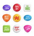 sale badges labels of best offers and sales vector image vector image