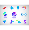 set colorful abstract 3d origami logos vector image