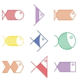 set colorful fish icons vector image vector image