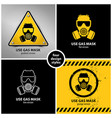 set gas mask symbols vector image vector image