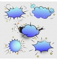 Set of pop art comic bubbles on transparent vector image