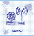 sketch line router and wi-fi signal and gear icon vector image vector image