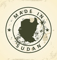 Stamp with map of Sudan vector image