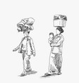 two burmese women with no face are carrying big vector image vector image