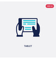 two color tablet icon from education concept vector image vector image