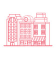 urban cityscape buildings outline design red vector image