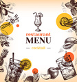 Vintage restaurant menu Hand drawn sketch vector image vector image