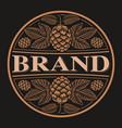 vintage round beer label design bierdeckel vector image vector image