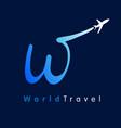w travel company logo concept vector image