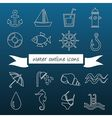 water outline icons vector image vector image
