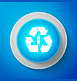 white battery with recycle symbol icon vector image vector image