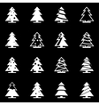 white christmas tree icon set vector image