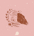 wild moonchild girl face modern witch concept vector image