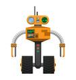 yellow metallic robot with wheels instead of legs vector image vector image