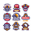 collection of colorful american football logo vector image