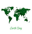 world map with green floral pattern vector image
