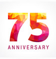 75 anniversary red logo vector image vector image
