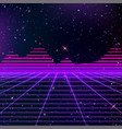 80s neon grids and starry sky and pyramids vector image