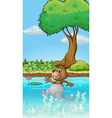 A swimming beaver vector image vector image
