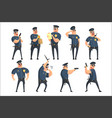 american policeman funny characters set cartoon vector image