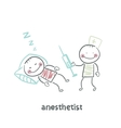anesthesiologist with syringe next to a sleeping vector image