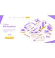 bill online payment secure mobile shopping and vector image vector image
