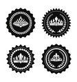 black stamps with royal crowns and laurel wreaths vector image vector image
