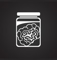 brain in can on black background vector image