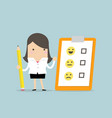 businesswoman holding pencil and paper of feedback vector image vector image