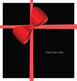 card with bow red on black vector image vector image