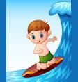 cartoon little boy playing surfboard on the sea vector image vector image
