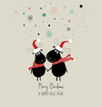 christmas card with couple moose vector image vector image